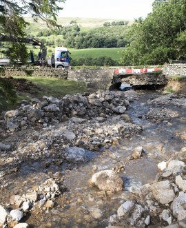 The temporary bridge in place on the B6270 near Reeth
