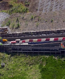 work under way last year to repair the A59 at Kex Gill after movement in the carriageway