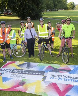 Members of the Open Country Tandem Cycling Club with Cllr Jim Clark