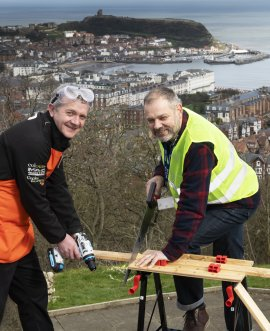Charlie Macleod of the B&Q store in Scarborough and Ed Horwood of the Youth Justice Service try out tools provided for the pop-up workshop in Scarborough earlier this year