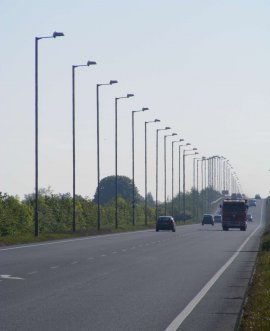 lighting columns along the A63 Selby bypass