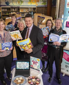library staff in Northallerton library at the launch of the new Reading Well collection