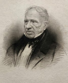 Photo real sketched portrait of Sir George Cayley, as an older man, published in 1843