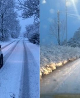 snow on roads in North Yorkshire