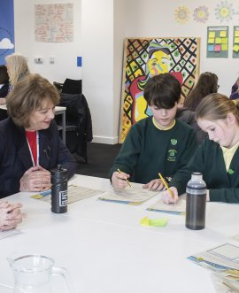 Cllr Sanderson joins pupils at the wellbeing champions training day.