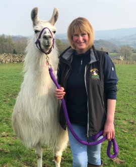 Suzanne Benson with Rosebud the llama