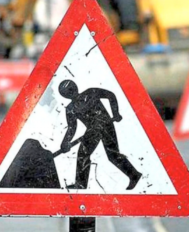 roadworks sign for Scarborough Hospital